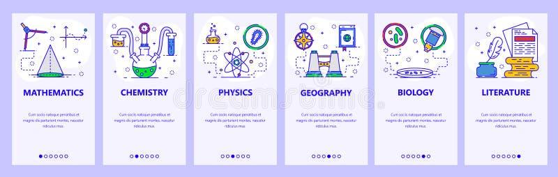 Mobilnego app onboarding ekrany Nauka i szkolni tematy, chemia, matematyka, fizyka, biologia Menu wektoru sztandar ilustracja wektor