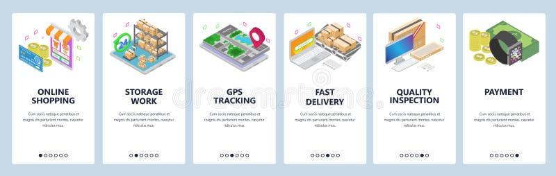 Mobilnego app onboarding ekrany Online zakupy, mądrze zegarek, zapłaty, magazyn, dostawa, gps tropić sztandaru eps10 kartoteka ab ilustracja wektor
