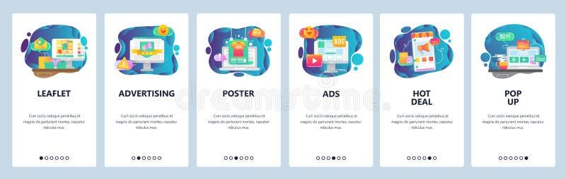 Mobilnego app onboarding ekrany Online zakupy, sprzedaż, promocja, gorąca transakcja i reklama, Menu wektoru sztandar royalty ilustracja
