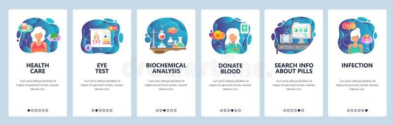 Mobilnego app onboarding ekrany Opieki zdrowotnej, choroby, lab i badania krwi rezultaty, infekcja, darowizna Menu wektoru sztand ilustracji