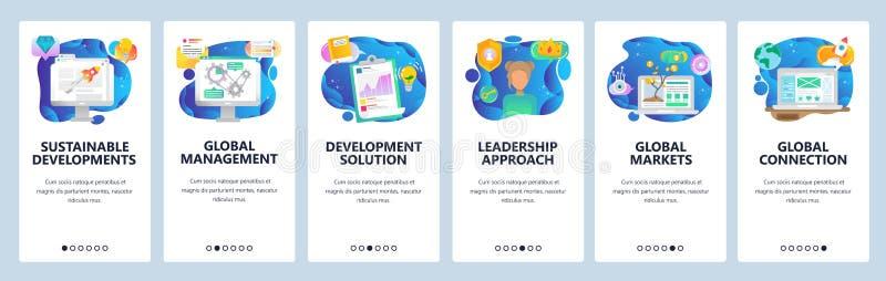 Mobilnego app onboarding ekrany Plan biznesowy i analityka, mapy, globalny zarządzanie, pieniądze drzewo Menu wektoru sztandar ilustracji
