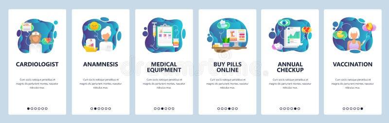 Mobilnego app onboarding ekrany Sprzęt medyczny, lekarka, leki i szpital ikony, Szczepienia i rocznika checkup royalty ilustracja