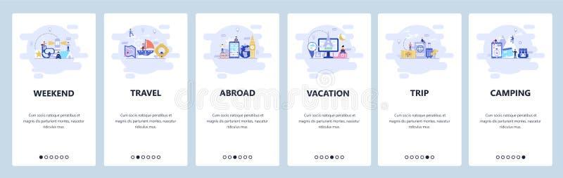 Mobilnego app onboarding ekrany Wakacje, podróży miejsce przeznaczenia, weekendowy camping Menu sztandaru wektorowy szablon dla s royalty ilustracja