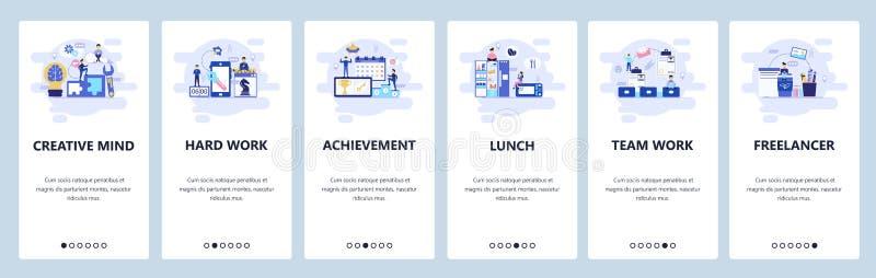 Mobilnego app onboarding ekrany Zarządzanie przedsiębiorstwem, praca zespołowa, przerwa na lunch, freelancer i biuro, Menu wektor ilustracji
