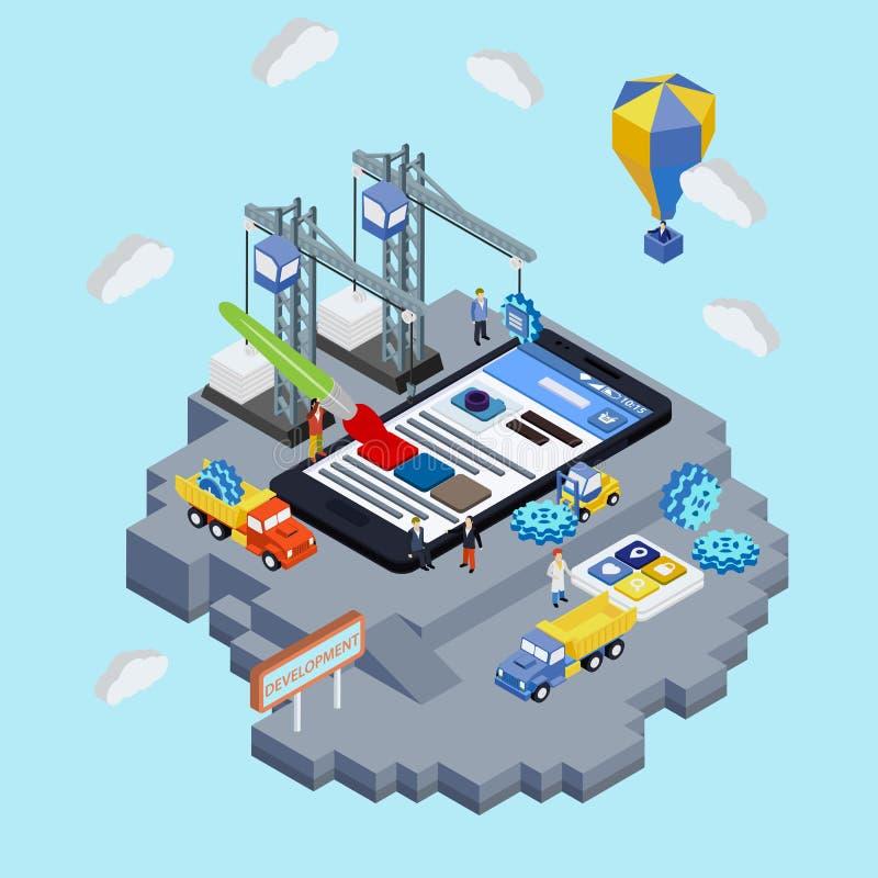 Mobilnego app rozwoju kreatywnie proces unaocznienie ilustracji