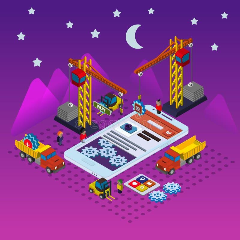 Mobilnego app rozwoju płaski isometric wektor ilustracja wektor