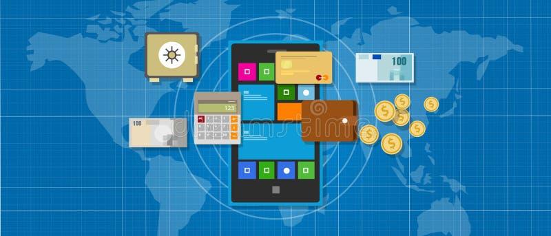 Mobilnego bankowość finanse podaniowy mądrze telefon ilustracja wektor