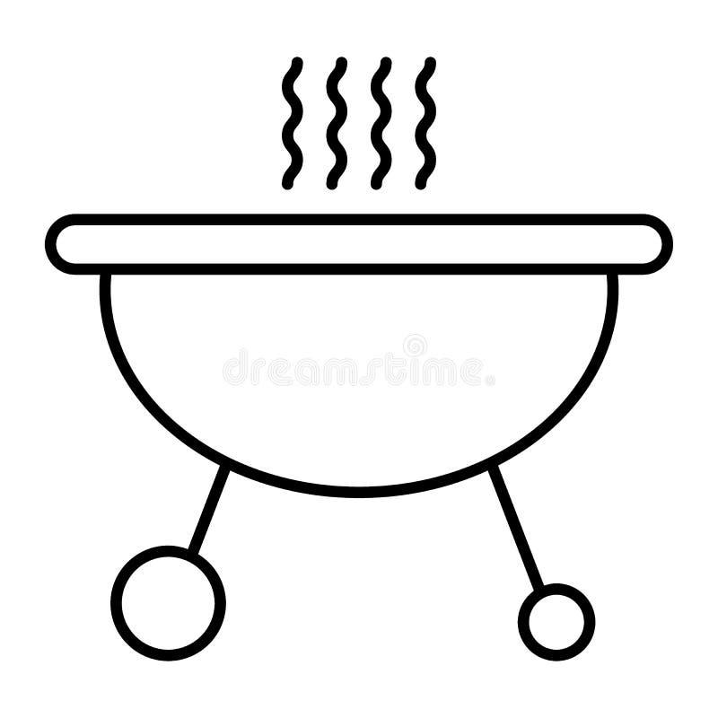 Mobilnego brązownika cienka kreskowa ikona Grill wektorowa ilustracja odizolowywająca na bielu Grilla konturu stylu projekt, proj ilustracja wektor
