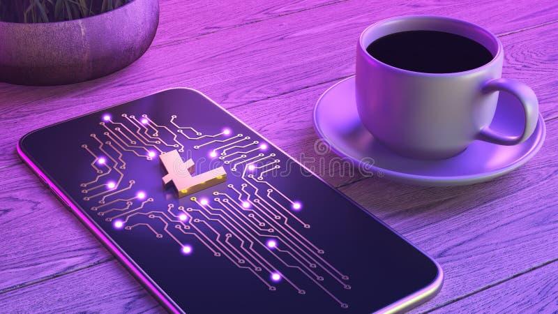 Mobilnego cryptocurrency handlarski poj?cie Smartphone k?ama na drewnianym stole, obok fili?anki aromatyczna kawa Neonowa ?una 3d ilustracja wektor