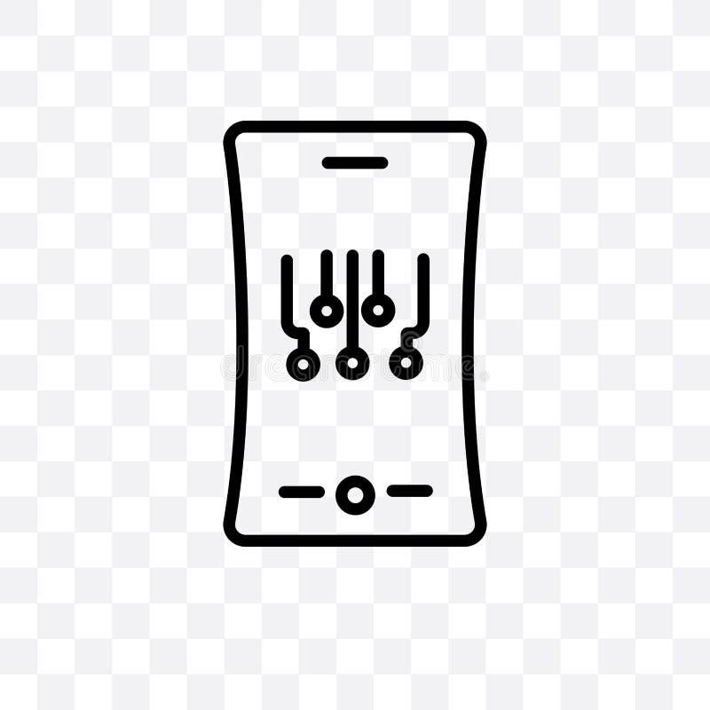 Mobilnego elastycznego pokazu wektorowa liniowa ikona odizolowywająca na przejrzystym tle, Mobilny elastyczny pokaz przezroczysto ilustracja wektor