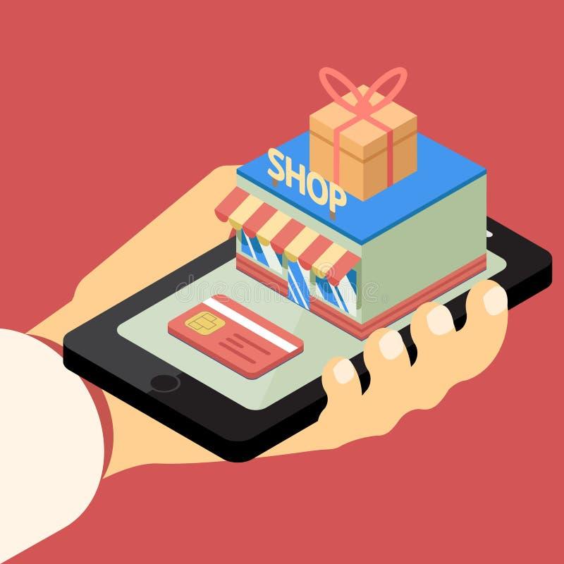 Mobilnego sklepu pojęcie royalty ilustracja