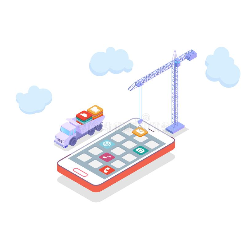 Mobilnego technologia systemu operacyjnego unaocznienia mieszkania 3d pojęcia kreatywnie proces isometric infographic wektor dźwi royalty ilustracja