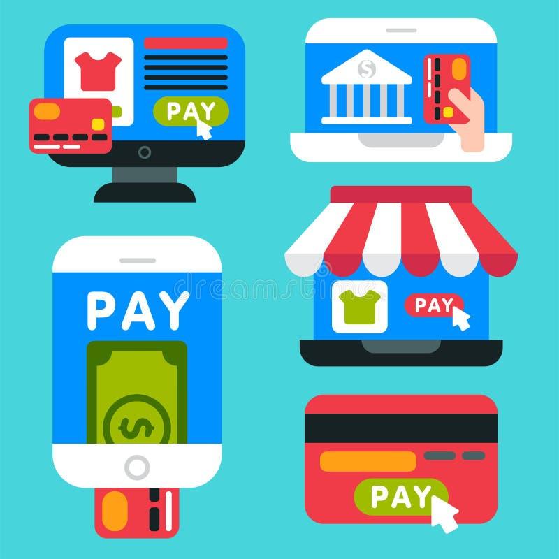 Mobilnego zapłat ikon smartphone transakci ecommerce wektorowego portfla bankowości karty kredyta bezprzewodowy podłączeniowy wyn ilustracji