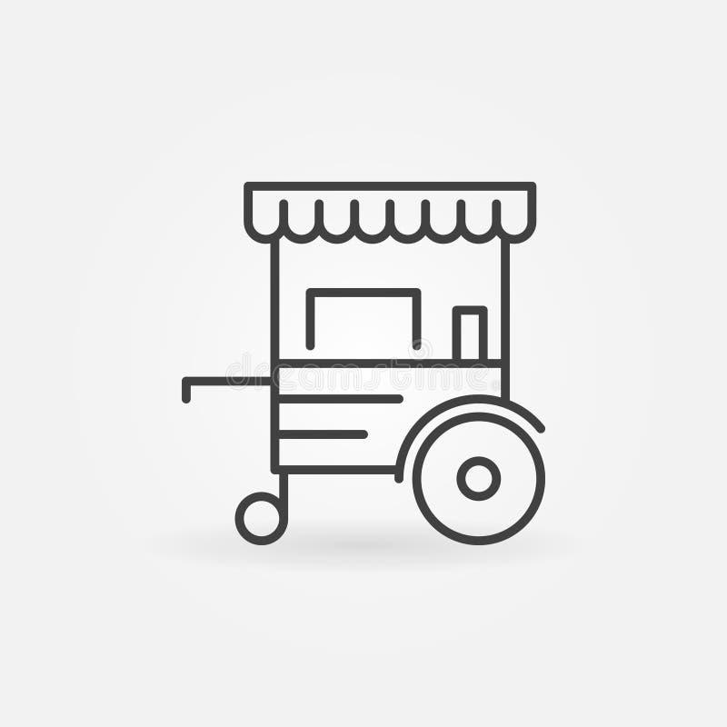 Mobilnej fury liniowa ikona - wektorowy koło rynku kramu linii znak ilustracji