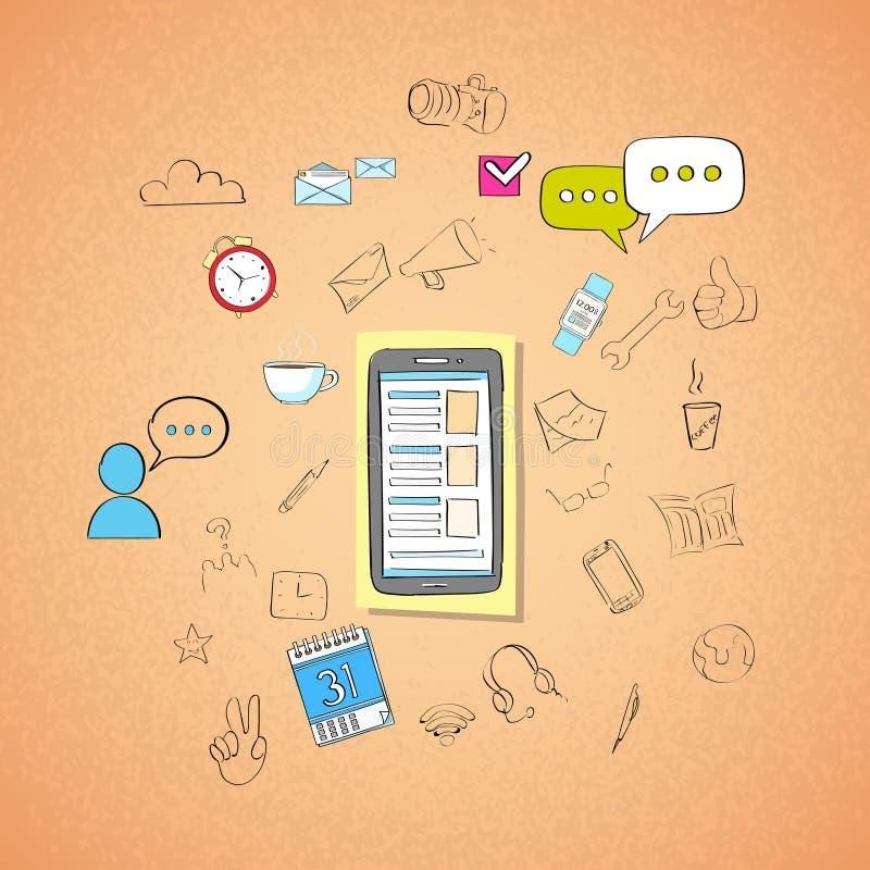Mobilnej komórki rozmowy telefonicza pojęcia Mądrze Doodle ilustracja wektor