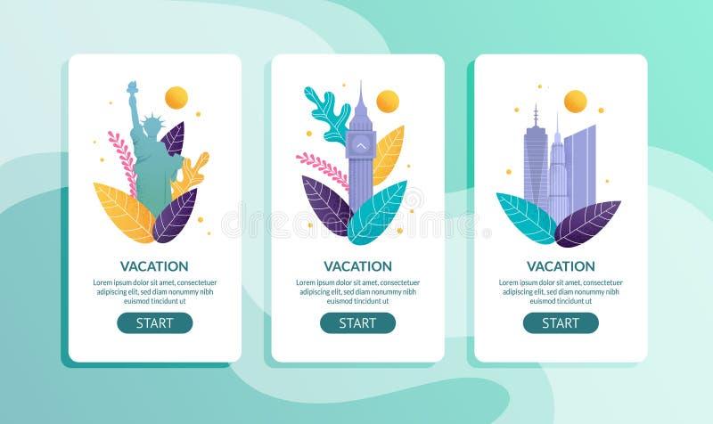 Mobilnej strony oferty Ustalony wakacje w Cudzoziemskich okręgach administracyjnych royalty ilustracja
