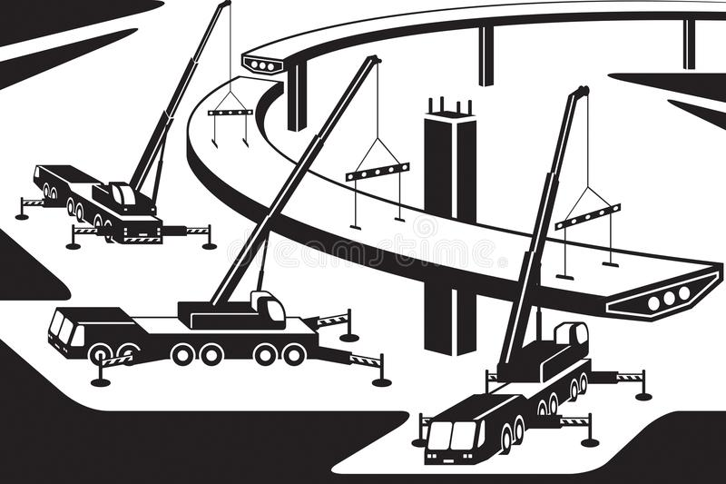 Mobilni żurawie instaluje część most ilustracja wektor