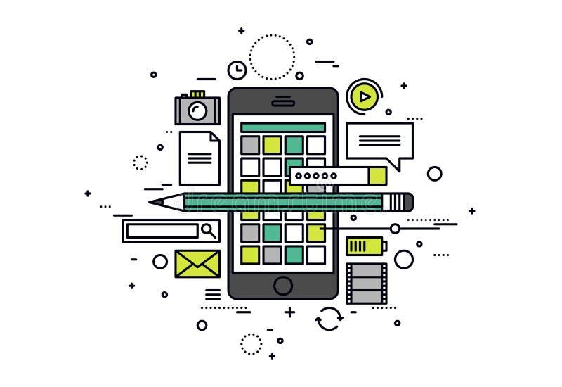 Mobilni apps rozwijają kreskowego stylu ilustrację ilustracja wektor