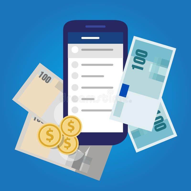 Mobilni bankowości konta pieniądze finanse savings inwestują gotówkowego przedmiot royalty ilustracja