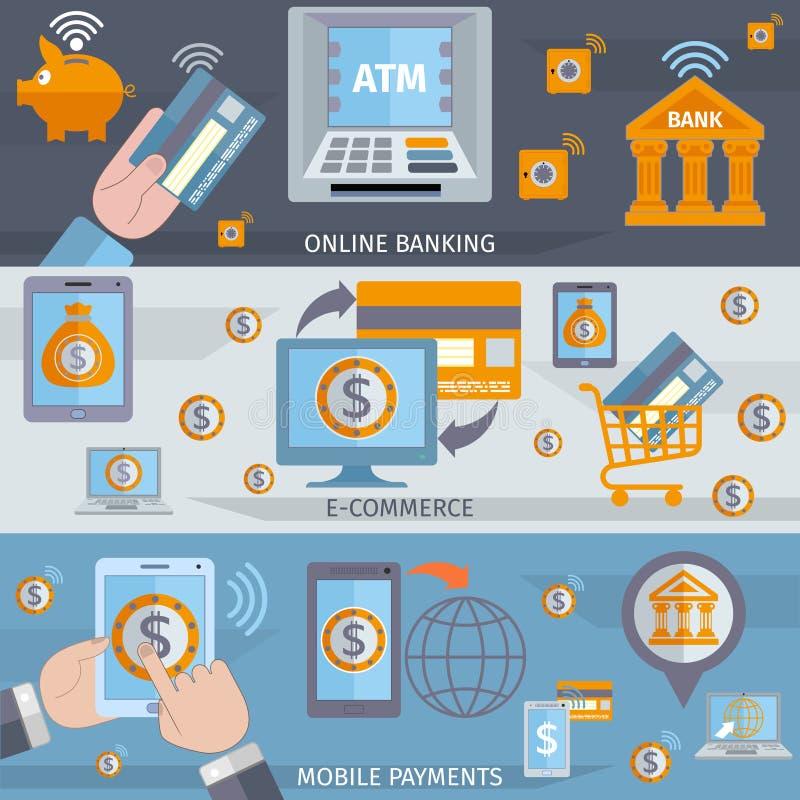 Mobilni bankowości linii sztandary ilustracja wektor