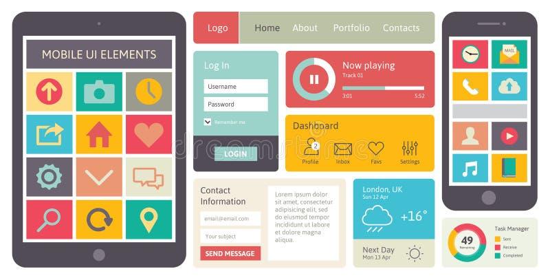 Mobilni UI wektoru elementy