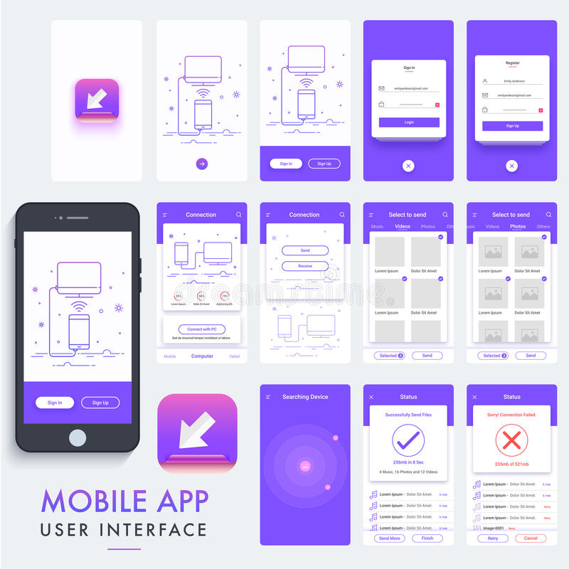 Mobilny App Materialny projekt, UI, UX zestaw royalty ilustracja