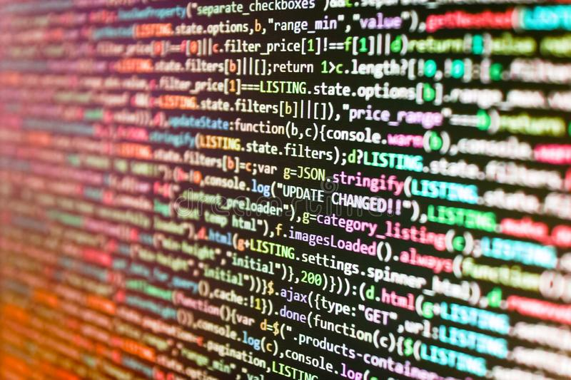 Mobilny app pojęcie Kreatywnie Js HTML5 zbliżenie ustawiający na tle Źródło algorytmu abstrakcjonistyczny pojęcie Zbliżenia rozwi zdjęcie royalty free