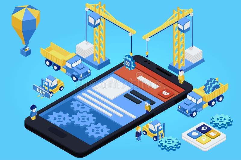 Mobilny App rozwój, Doświadczająca drużyna Mieszkanie 3d isometric ilustracji