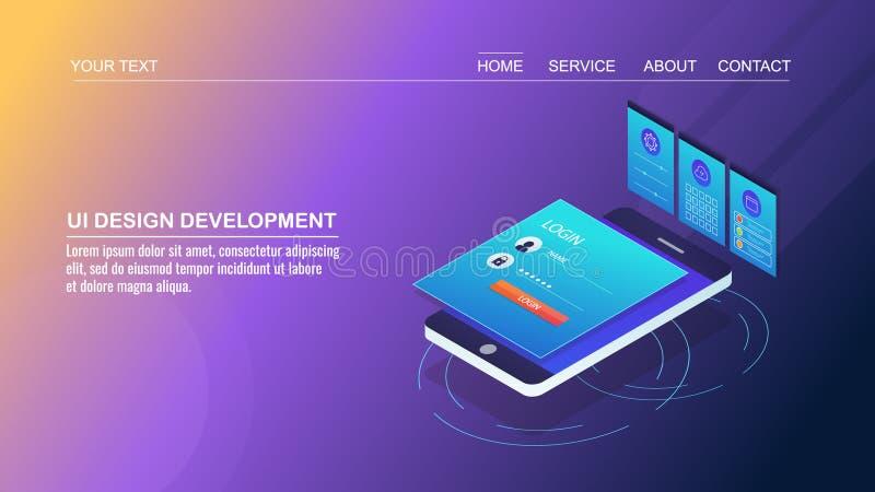 Mobilny app rozwój, interfejs użytkownika projekt, mobilny strona projekt, użytkownika doświadczenia ulepszenie, isometric projek ilustracja wektor