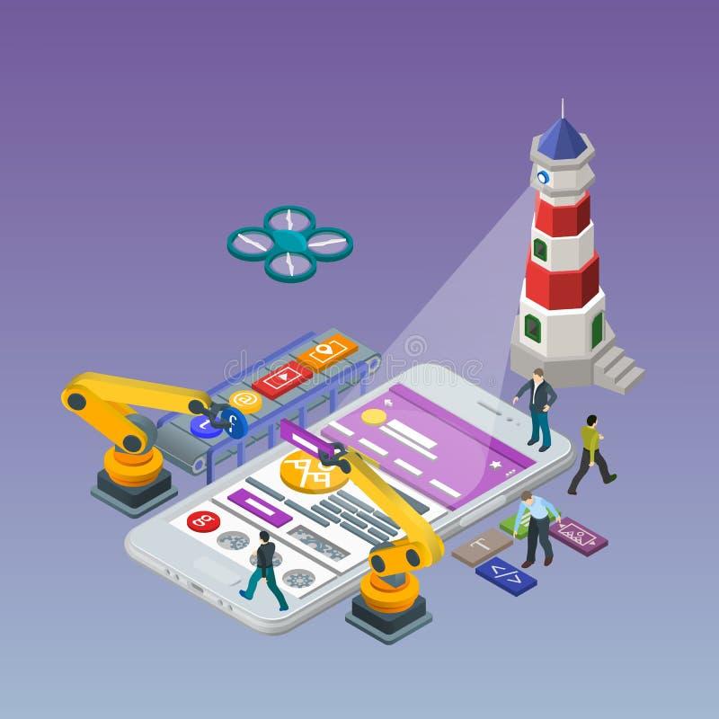 Mobilny app rozwój Mieszkania 3d isometric telefon ilustracja wektor