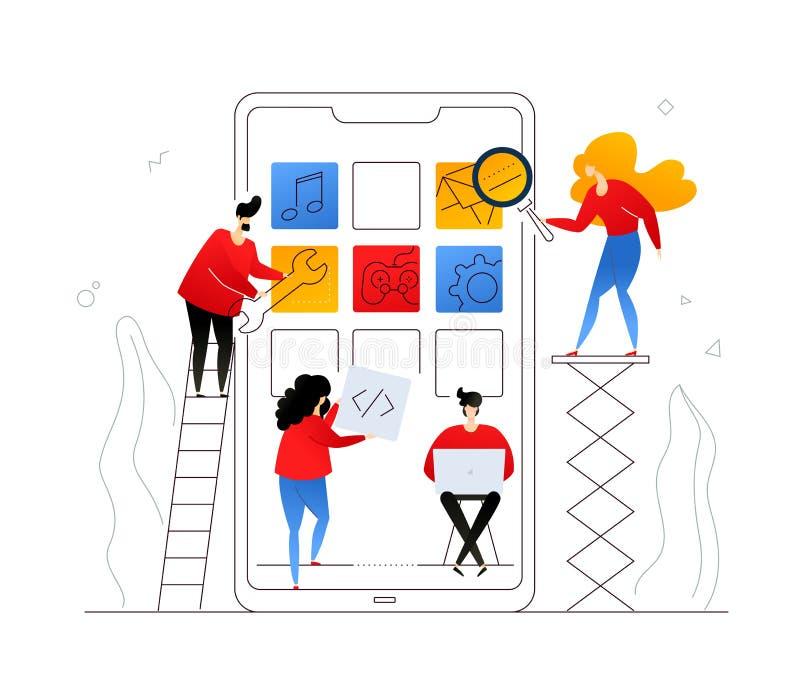 Mobilny app rozwój - płaskiego projekta stylu kolorowa ilustracja ilustracji