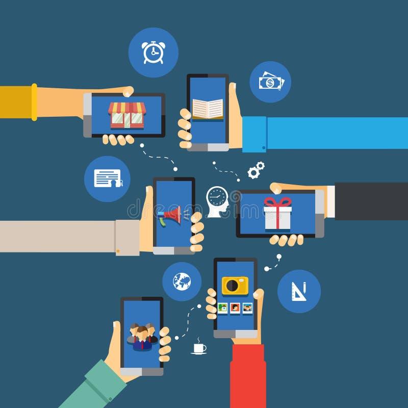 Mobilny apps infographics ilustracja wektor