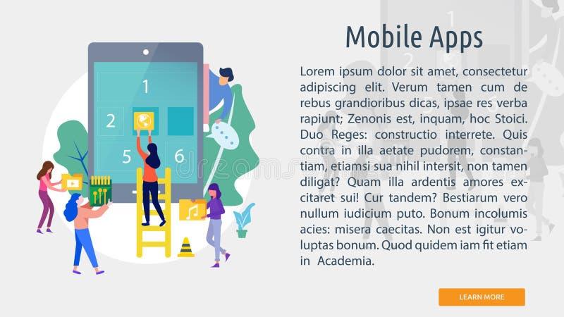 Mobilny Apps Konceptualny sztandar ilustracji