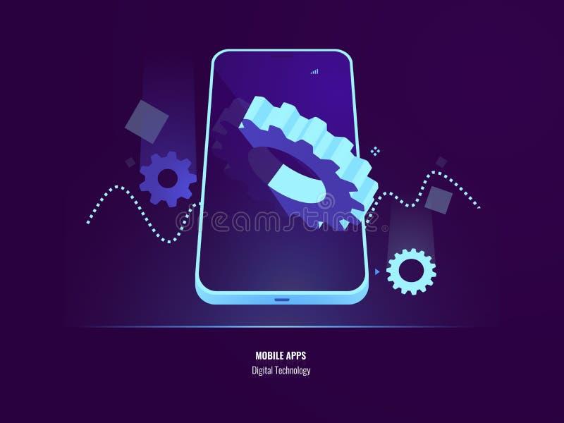 Mobilny apps rozwój, zastosowania instalować i aktualizacji pojęcie, smartphone położenie, duża przekładnia w ekranie wisząca ozd ilustracja wektor