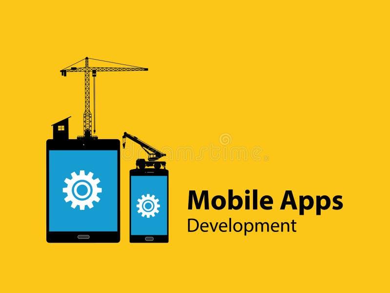 Mobilny apps rozwoju pojęcie z zakładki i smartphone przekładni budowy narzędziami ilustracji