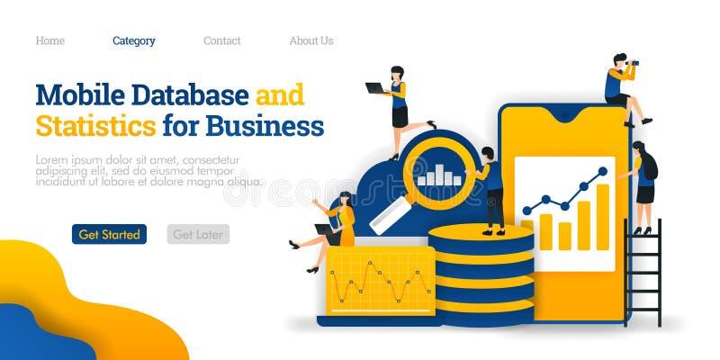 Mobilny baza danych i statystyki dla biznesu zbiera różnorodnych dane w obłocznym baza danych, Wektorowy płaski ilustracyjny poję ilustracja wektor