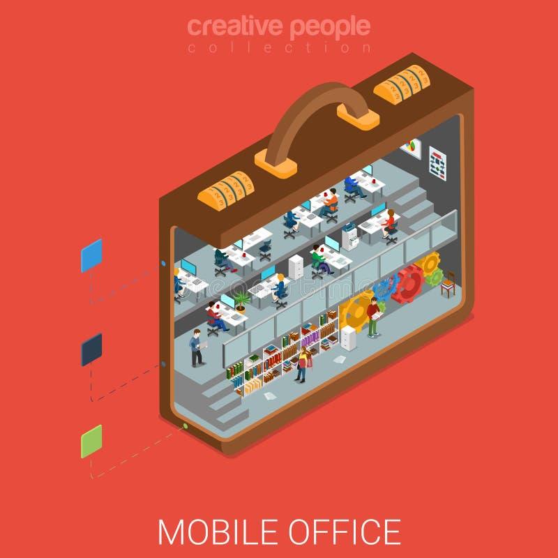 Mobilny biuro w dużym teczki mieszkania 3d isometric wektorze royalty ilustracja