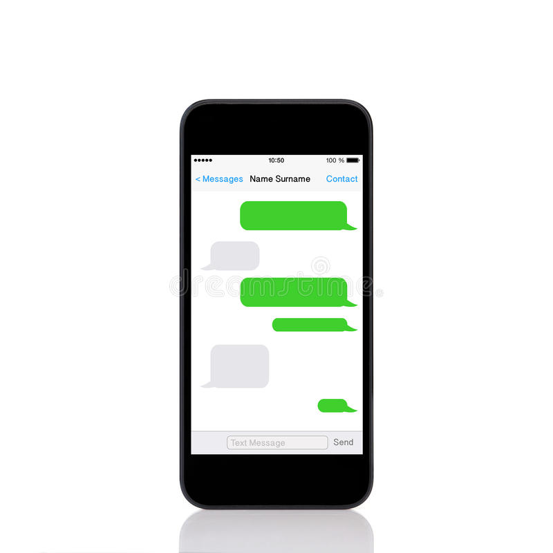 Mobilny dotyka telefon z sms gawędzi na ekranie fotografia stock