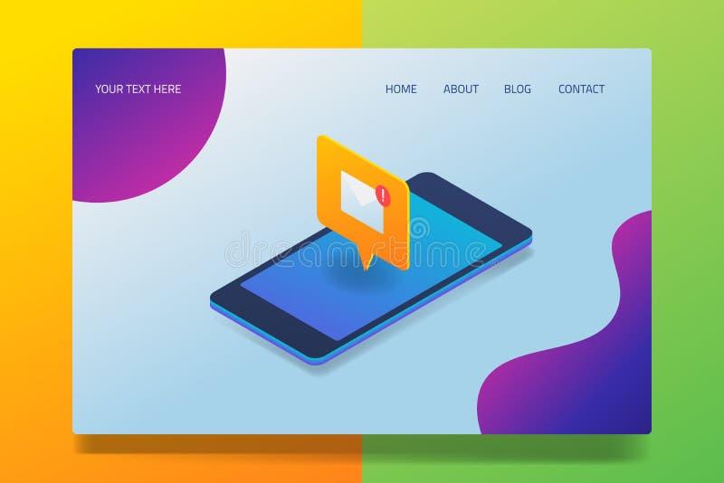 Mobilny emaila powiadomienie, isometric projekt, 3d stylowy pojęcie, strona internetowa szablon z ikonami i tekst, ilustracji
