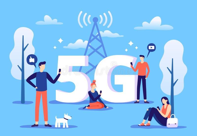 Mobilny 5g związek Ludzie z smartphones używają wysokiego prędkość internet, kwinty pokolenia sieć i sprawozdanie strefy wektor, ilustracja wektor