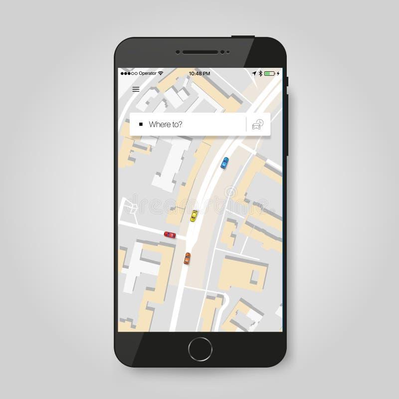 Mobilny GPS nawigaci pojęcie Smartphone z miasto mapy zastosowaniem ilustracja wektor