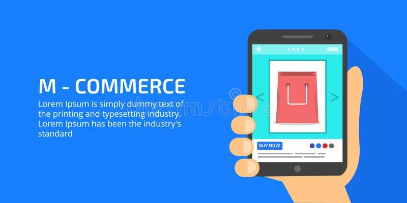 Mobilny handel, online zakupy, zapłata, biznesmen trzyma urządzenie przenośne, wystawia produkt online ilustracja wektor