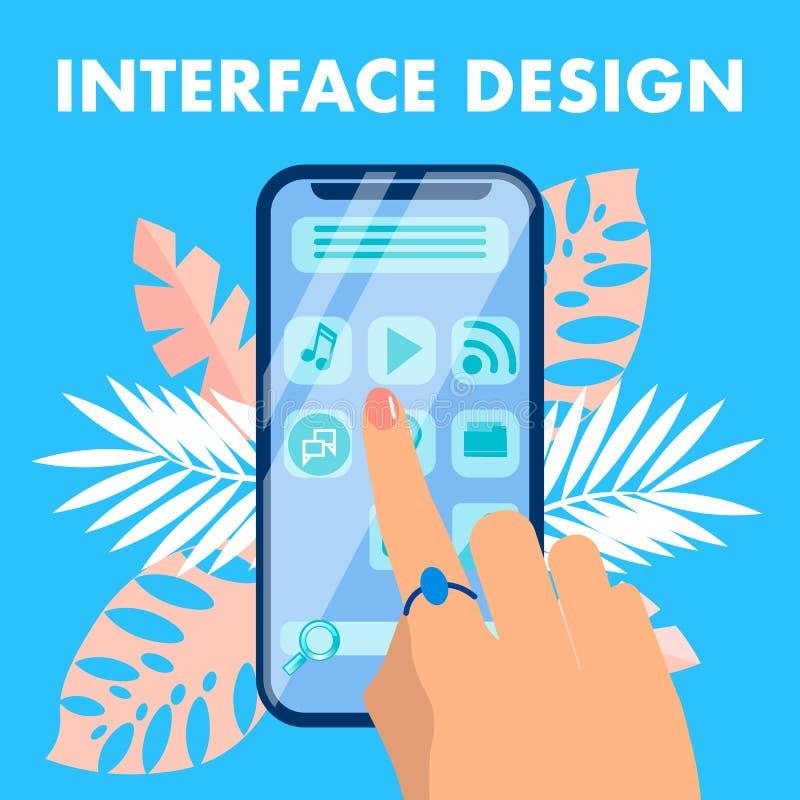 Mobilny interfejsu projekta sztandaru Płaski Wektorowy pojęcie royalty ilustracja