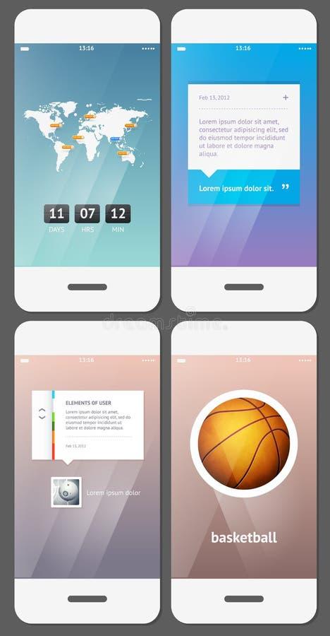 Mobilny interfejsu użytkownika szablon ilustracja wektor