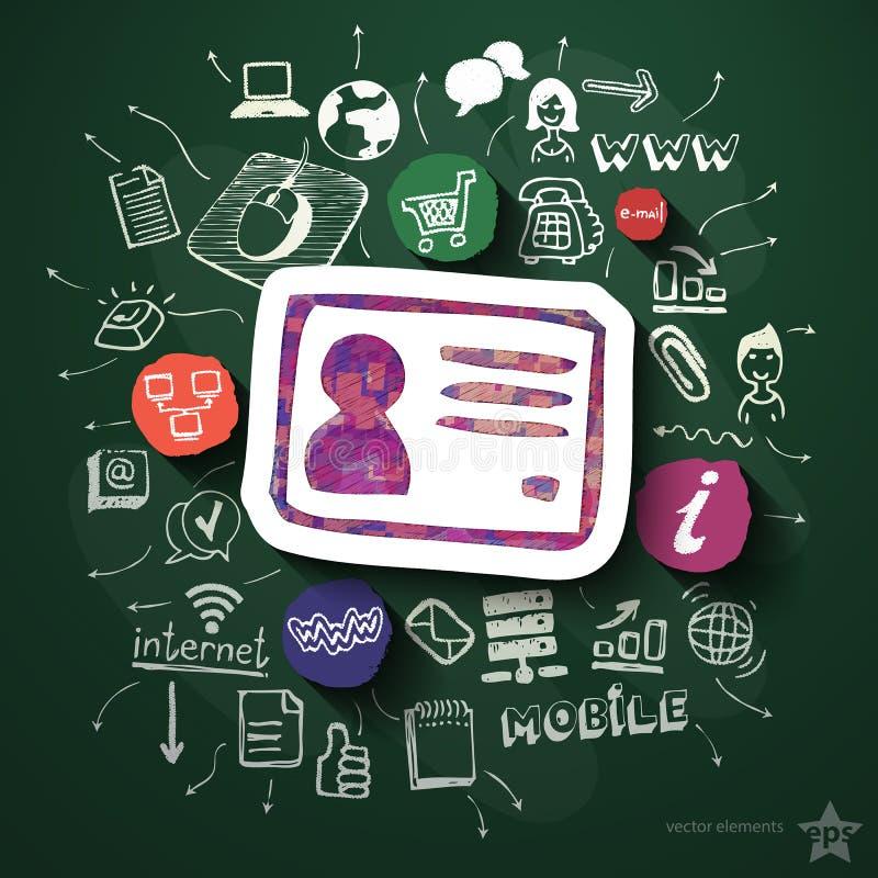 Mobilny interneta kolaż z ikonami na blackboard ilustracji