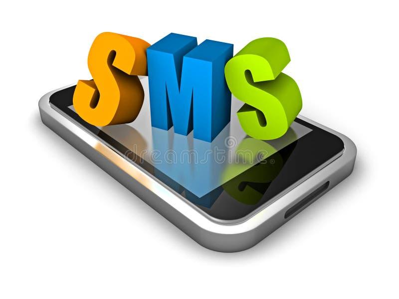 Mobilny mądrze telefon z SMS słowa kolorowymi listami ilustracji