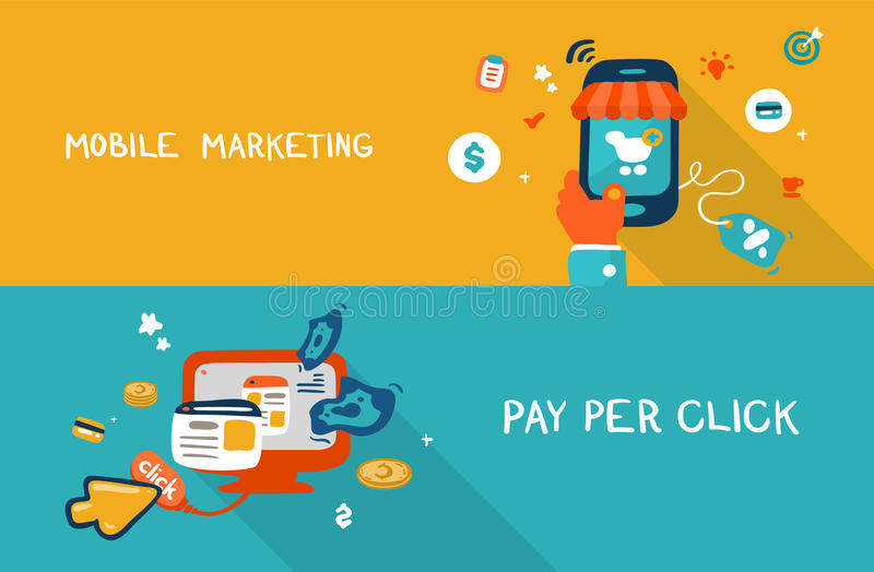 Mobilny marketing i wynagrodzenie na stuknięcie ilustracja wektor