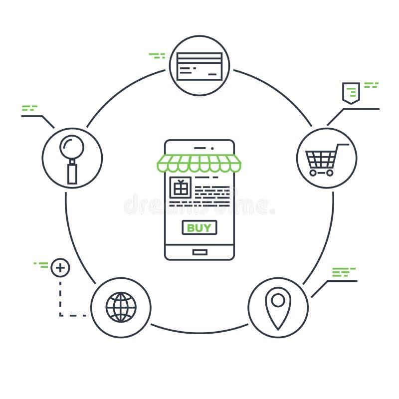 Mobilny marketing linii wektor ilustracji