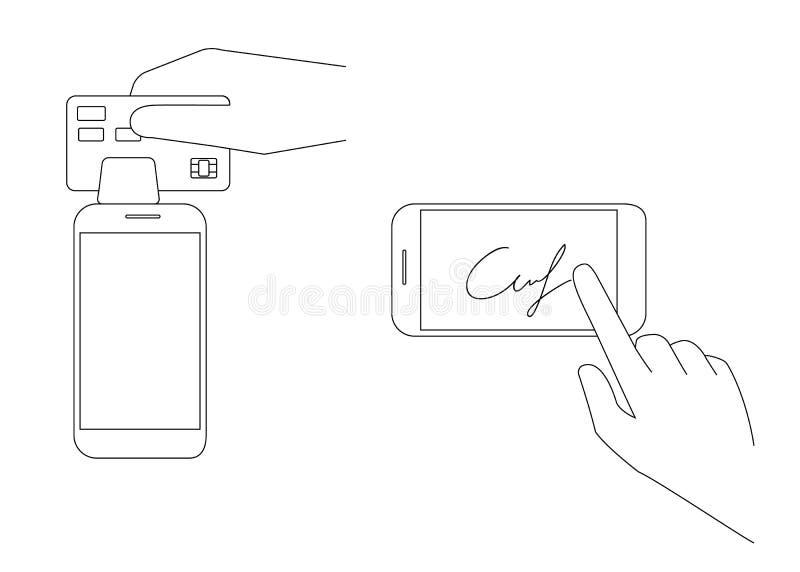 Mobilny nabywanie z podpisem ilustracji