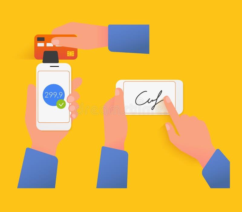 Mobilny nabywanie z podpisem ilustracja wektor